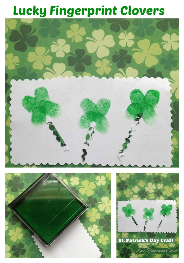 Saint patrick's day craft for kids: Lucky fingerprints clovers