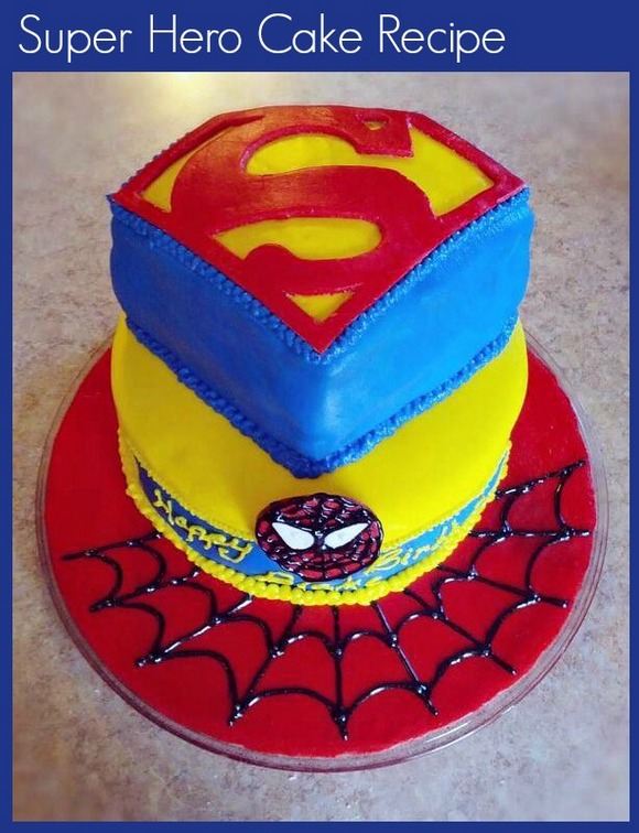 A delicious Super Hero cake is the perfect way to finish off a day of Spider-Man party craft for kids.