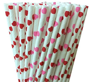 Pink and Red Paper Straws Valentine's Day party supplies