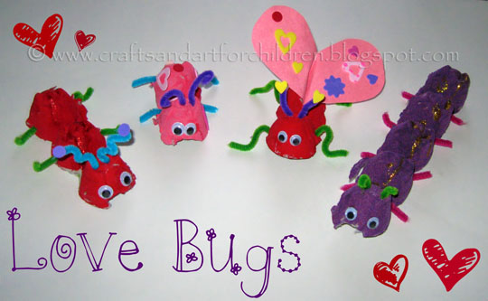 Valentine's Day craft for toddlers egg carton bugs