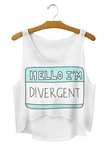 Hello Im Divergent Crop Tee Divergent Themed T-Shirts Teen Summer Fashions