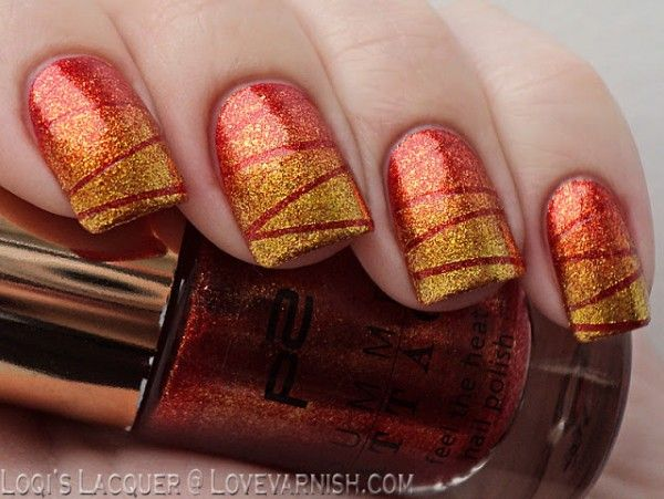 Ombre Glitter  Fall Nail Makeover Ideas For Teens