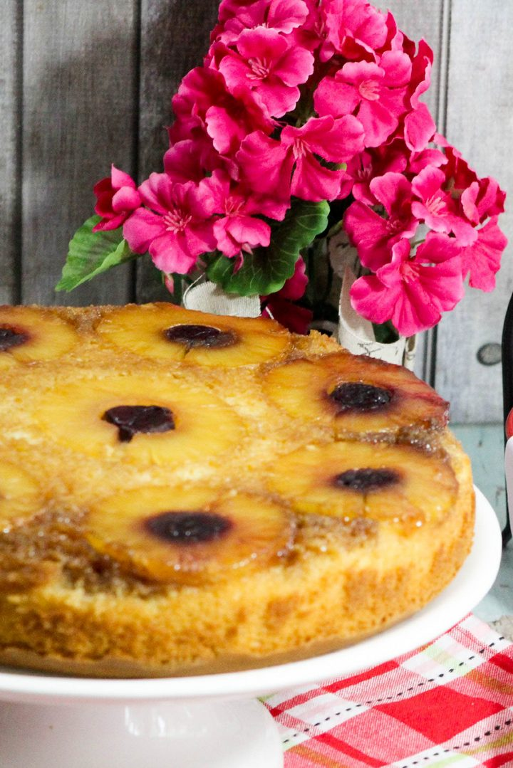 This beautiful pineapple upside-down cake recipe is the perfect party food for when it's your turn to bring dessert! You can also make little cupcakes too!