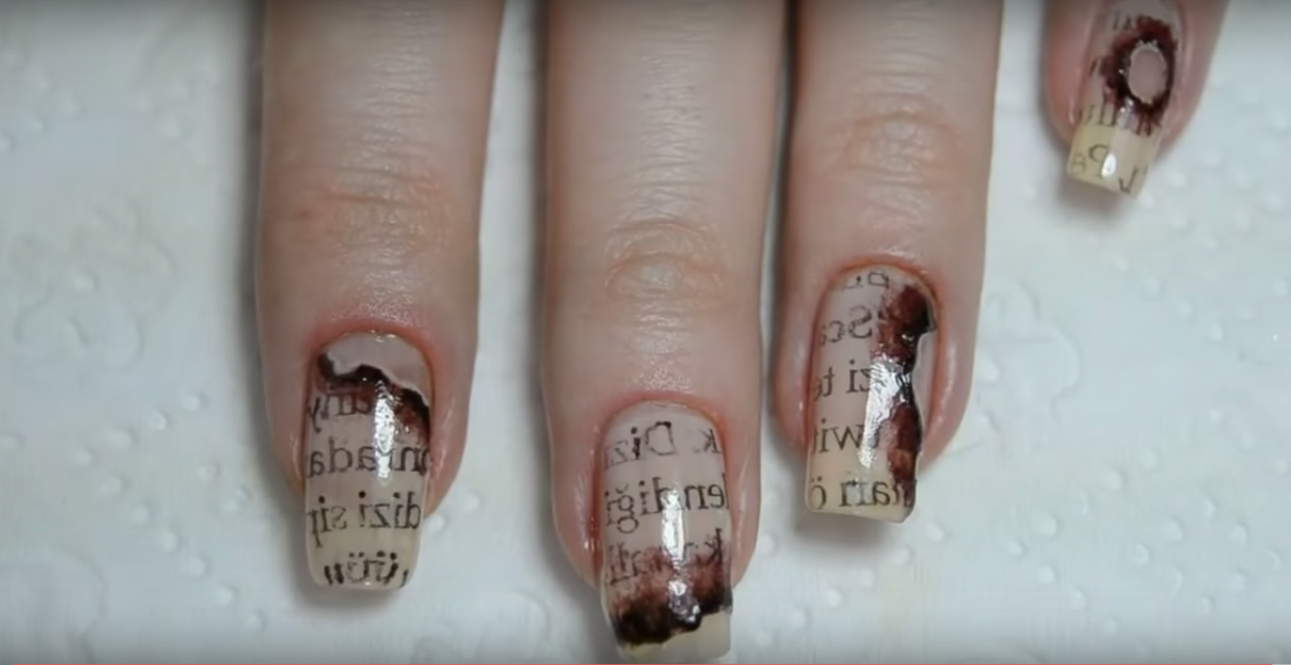 burnt paper DIY Halloween Nail Art