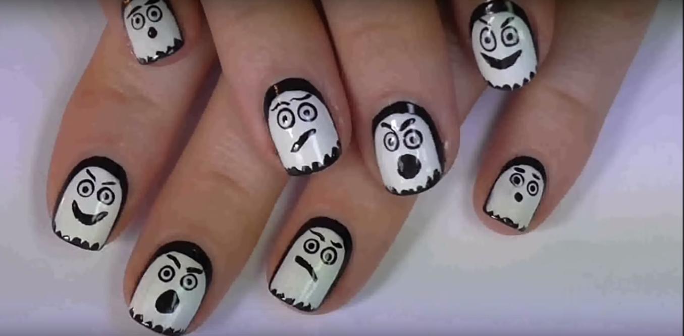 ghoust nails DIY Halloween Nail Art