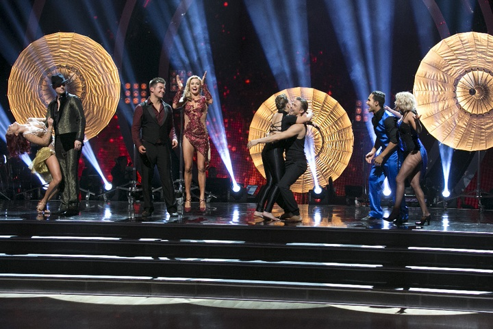 """Dancing with the Stars Season 21 Week 10 Recap: Four remaining couples advanced to the SEMI-FINALS on """"Dancing with the Stars"""" on MONDAY, NOVEMBER 16 (8:00-10:01 p.m., ET). For the first time in """"Dancing with the Stars"""" history, the couples have to dance three dances in the semi-finals: a dance style not yet danced, a trio, and a dance-off challenge, which is a recent edition. For the trio dance, couples picked a dancer to enhance their performance and highlight the strengths of each star. (ABC/Adam Taylor) SHARNA BURGESS, NICK CARTER, ALEK SKARLATOS, LINDSAY ARNOLD, BINDI IRWIN, DEREK HOUGH, CARLOS PENAVEGA, WITNEY CARSON"""
