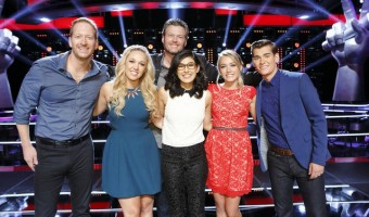 "THE VOICE -- ""Knockout Rounds"" -- Pictured: Barrett Baber, Morgan Frazier, Blake Shelton, Ivonne Acero, Emily Ann Roberts, Zach Seabaugh -- (Photo by: Trae Patton/NBC)"