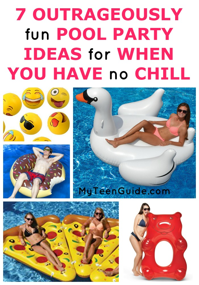 Summer is here, and summer party ideas are high on my list right now especially ideas I can use for the pool. I have been seriously laughing and am losing every ounce of chill I have over the pool party ideas. A giant swan? Floating pizza? How about Emojis bouncing all over the pool? I have to get my hand on all of these. Take a look at all of my ideas below, and see if you can make it through this list of pool party ideas without losing it. Add one or all of these and you'll have an epic pool party without even trying. These pool party ideas for teens are so epic, I just can't stand it. Ready to see all the ideas ?