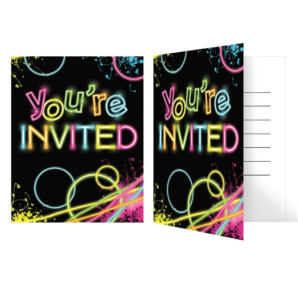 Glow Party Birthday Party Invitations, from Amazon, is a set of 8 invitations.