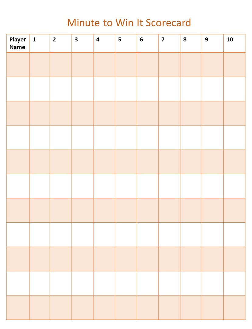 Easter Minute to win it games scorecard