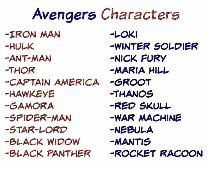 Avengers Infinity War Characters for Who Am I teen party game
